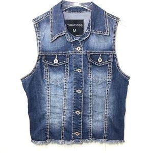 Maurices Denim Jean Vest Button Down Blue Medium